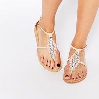 Forever Unique | Forever Unique Flavia Embellished Flat Sandals at ASOS