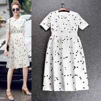 Solid Polka Dots Elastic Waist Band A-Line Dress