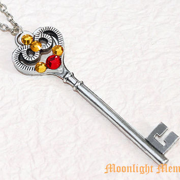 Sailor Moon Necklace - Inspired by Sailor Pluto Garnet Rod - Handmade Crystal Silver Heart Key Sailor Moon Necklace Jewelry Christmas Gift