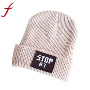 Winter Hat Women High Quality STOP Letters Printed Keep Warm Crochet Ski Hat Braided Gorros Thick Bonnet Beanie Hat for girl#3