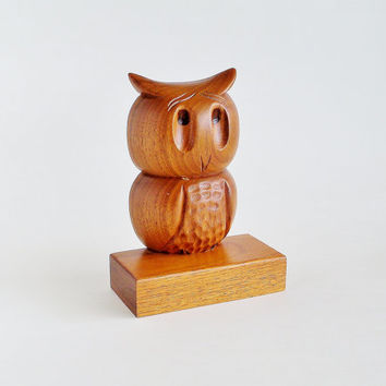 Wise Wooden Owl Figurine Hand Carved