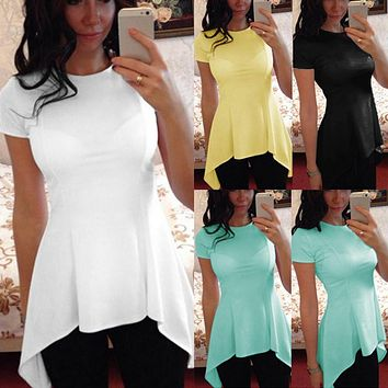 9 Colors S-4XL Celmia Plus Size Blusas Summer Tops Women Short Sleeve Blouse Sexy Tunic Peplum Slim Fitness Casual Shirt