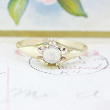 Victorian Engagement Ring | Antique Promise Ring | Moonstone Engagement Ring | 10k Yellow Gold Ring | June Birthstone Ring | Size 8