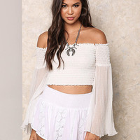 White Gauze Bell Sleeve Crop Top