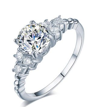 New Luxury Carving Filigree Zircon Wedding Ring Sets For Women Jewelry Fashion Gift