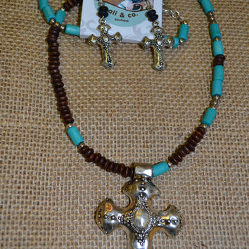 Cross Necklace Set w/Brown and Turquoise Beads