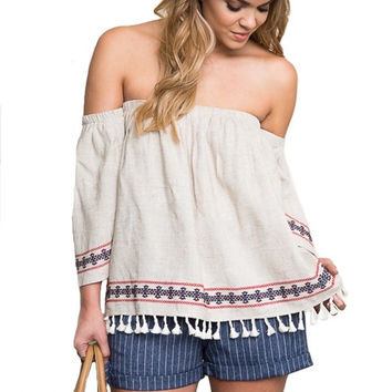 NAPA OFF THE SHOULDER EMBROIDERED BLOUSE - OATMEAL