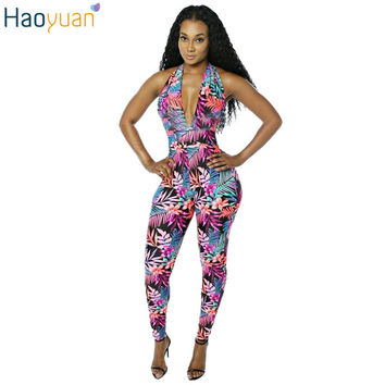 2016 Summer Sexy Women's Bodysuits Sleeveless Backless Bodycon Off The Shoulder Jumpsuit Long Pants Dashiki Floral Club Rompers