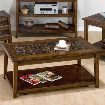 Painted Hardwood Coffee or Cocktail Table Mosaic Tile Inlay & Hidden Casters