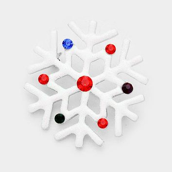 Crystal Snowflake Bling Sequin Cluster Pin Brooch