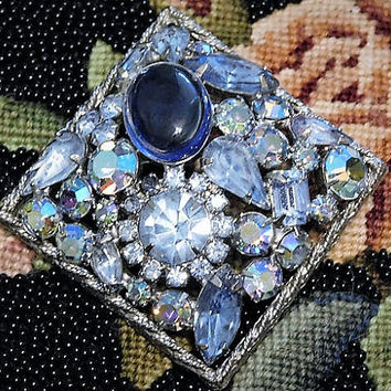 Vintage Juliana DeLizza Elster D & E Rhinestone Brooch Blue Square Brooch Verified D and E Something Old Blue Bride Hollywood Mid Century