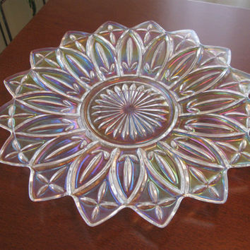 Iridescent Crystal Clear Plate, Anchor Hocking, Pointed Edges, Rainbow Plate, Prism, Pointed Tip Plate
