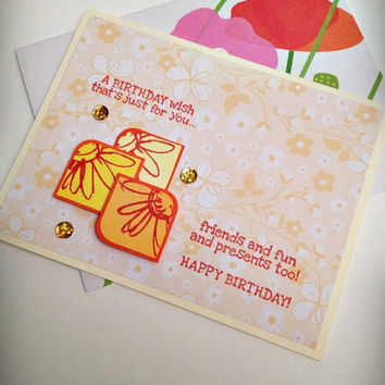 Stamped card, happy birthday, flowers, sunshine colors, orange yellow coral, gold sequins, birthday card, greeting card, handmade card