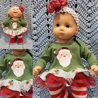 """15 inch Baby doll outfit """"Here Comes Santa""""  Will fit Bitty Baby® Cabbage Patch®  snowman dress leggings socks headband A3"""