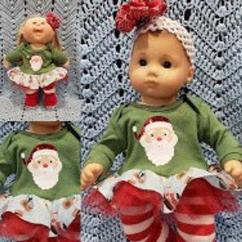 "15 inch Baby doll outfit ""Here Comes Santa""  Will fit Bitty Baby® Cabbage Patch®  snowman dress leggings socks headband A3"