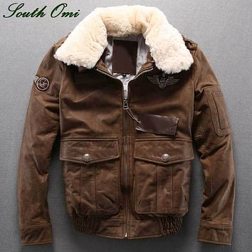 Winter Men's Jackets Men's  Air Force Style Flight Suit Leather Jacket Padded Leather Wool Collar Leather Jacket Coat For Men