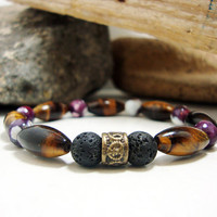 FREE SHIPPING - Men bracelet,Men's Bracelet, Men's beaded bracelet, gemstone men bracelet,tiger eye and agate,lava stone