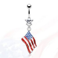 "Amazon.com: 14g Dangling Flag of America Sexy Belly Button Navel Ring Dangle Body Jewelry Piercing with Clear Star Cz and Surgical Steel Bar 14 Gauge 3/8"" Nemesis Body JewelryTM: Everything Else"