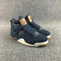 ca DCCK New Arrival Jordan Retro 4 X lev Denim fabric Men Basketball shoes  Breathable Athletic Outdoor Sport Sneakers EUR SIZE 40-47