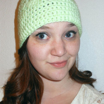 Green Hat Beanie, Shell Stitch Pattern, Hand Knit, Crochet