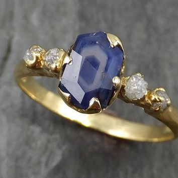 Partially faceted natural crystal sapphire Raw Rough Diamond 18k Yellow Gold Engagement multi stone 0453
