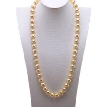 """Long Pearl Necklace 12mm Round South Seashell Pearl for Women White Coffee Golden Gray Black Pearl Necklace 28"""""""