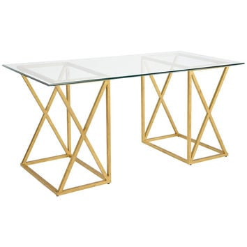 Gilt Wrought Iron and Glass Top Desk
