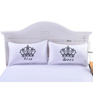 2 Pcs/Lot Crown Pattern Pillow Cases Queen and King Letter Design Pillow Covers Decorative Couple Pillow Wedding Gift P20