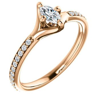 0.25 Ct Marquise Diamond Engagement Ring 14k Rose Gold