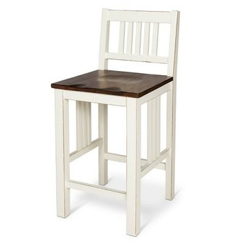 "Davern Cottage 24"" Counter Stool Wood/Off White"