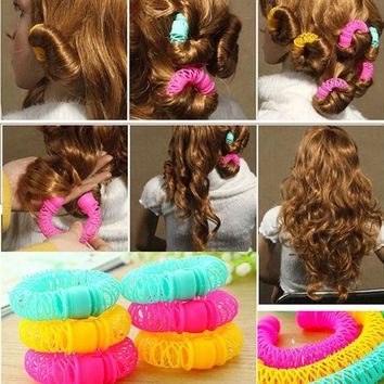ICIK272 6 pcs Large size 7.5 cm New Hair Styling Roller Hairdress Magic Bendy Curler Spiral Curls DIY Tools