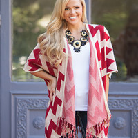 Over Size Chevron Fringe Cardigan Red