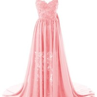 Dresstells® Chiffon Lace Wedding Dress Sexy Long Prom Dress Evening Gown