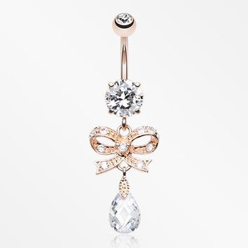 Rose Gold Romantic Bow-Tie Belly Button Ring