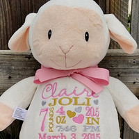 Personalized Memorial Lamb  Stuffed Animal Baby Cubbie custom embroidered baby gift Keepsake