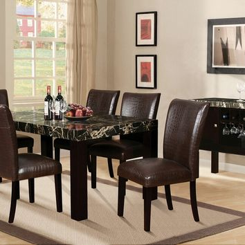 7 pc Adolph collection espresso finish wood black faux marble top dining table set with bycast vinyl upholstered chairs