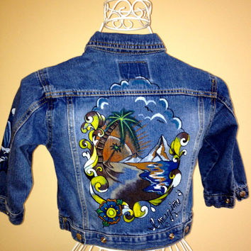 Toddler's 2T to 3T, 24 to 36 months, unisex Levi's denim jacket. Hand painted island scene/sailfish design.