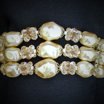 Vintage Pearl Bracelet Multi Strand Accented With Beads