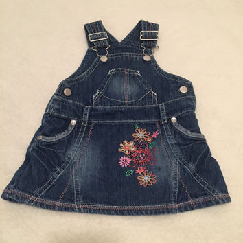 M&S blue floral embroidered denim pinafore dress baby girls 0-3 Months clothes