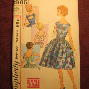 SALE Complete 1950's Simplicity Sewing Pattern, 3965! Size 15 Bust 35 Juniors/Misses/Medium/Women's/Full Flared Dress/Sleeveless Sundress/Dr