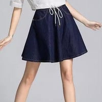 Denim A-Line Zippered Pocket Mini Skirt