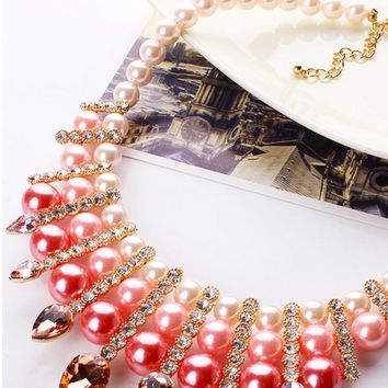 Casual Luxury Faux Pearl Crystal Necklace