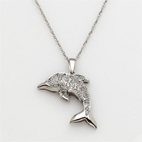 10k White Gold 1/10-ct. T.W. Diamond Dolphin Pendant