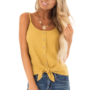 Mustard Ribbed Tank Top with Front Tie