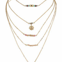 Ditsy Tassle Multi-Row Necklace - Multi