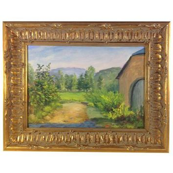 Pre-owned Country French Barn Landscape Painting