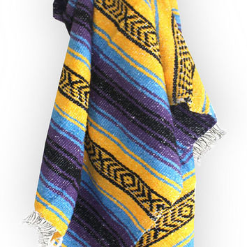 Yellow, Purple, Blue Mexican Blanket Beach Blanket Vintage Style