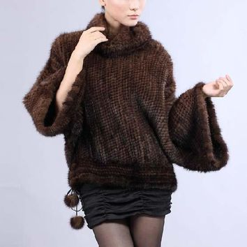 HOT* MINK COAT/ 100% EUROPEAN MINK KINTTED FUR COAT/FUR JACKET*EMS FREE SHIPPING SU-1181