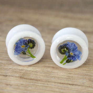 forget me not plugs flower plugs wedding plugs floral plugs real flower plugs flower tunnels unique plugs 2g 0g 00g 1/2 9/16 5/8 11/16 13/16