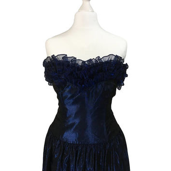 Midnight Blue Laura Ashley Dress | Vintage Evening Dress | Blue Laura Ashley Gown | Sleeveless | Ruffle Neckline | Long Cocktail Dress XS